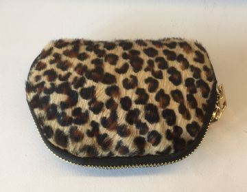 Leather Animal Print Purse/Make Up Bag -  Small Leopard